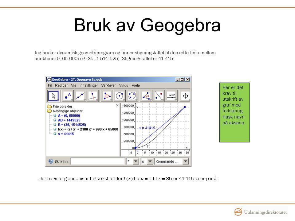 Bruk av Geogebra Her er det krav til utskrift av graf med forklaring. Husk navn på aksene. Jeg bruker dynamisk geometriprogram og finner stigningstall