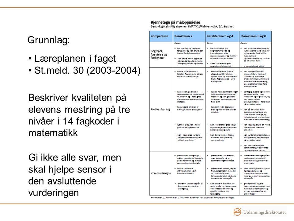 • Læreplanen i faget • St.meld. 30 (2003-2004) Grunnlag: Beskriver kvaliteten på elevens mestring på tre nivåer i 14 fagkoder i matematikk Gi ikke all