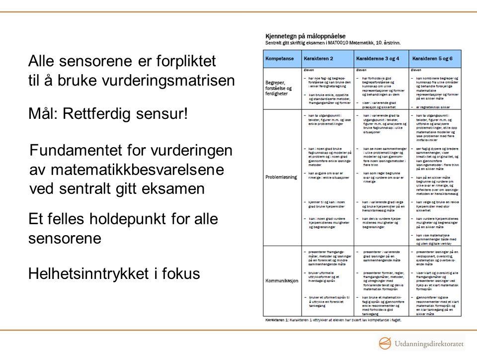 Alle sensorene er forpliktet til å bruke vurderingsmatrisen Mål: Rettferdig sensur! Fundamentet for vurderingen av matematikkbesvarelsene ved sentralt