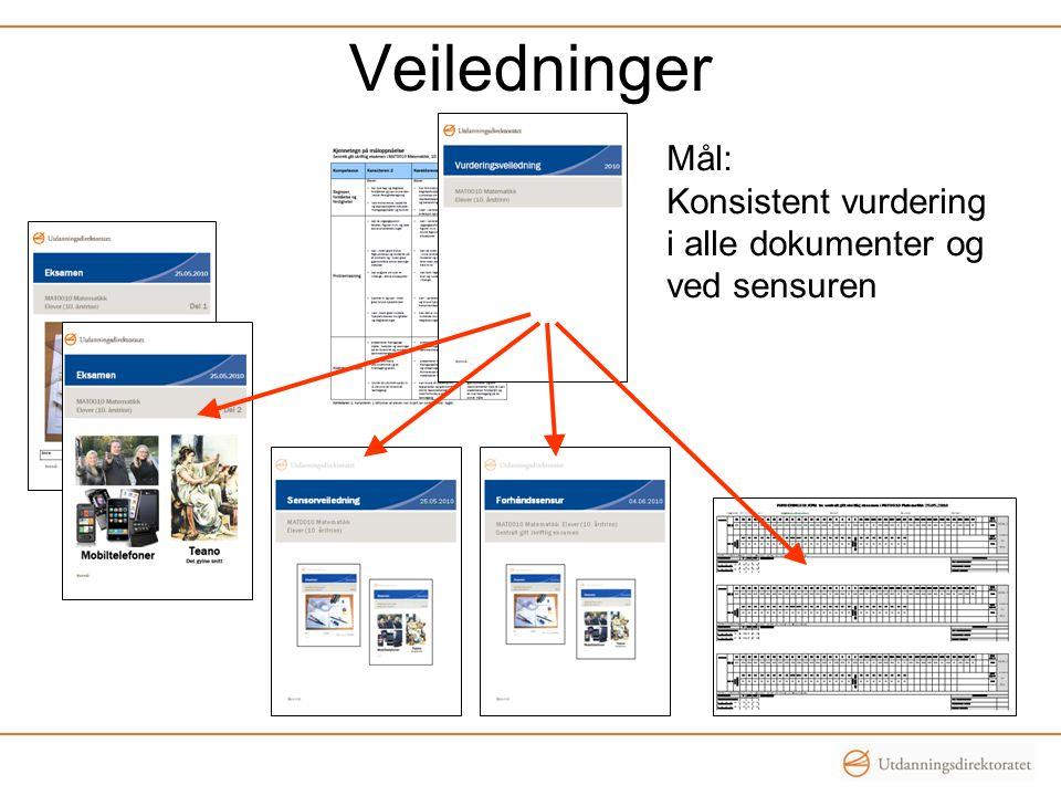 Veiledninger Mål: Konsistent vurdering i alle dokumenter og ved sensuren
