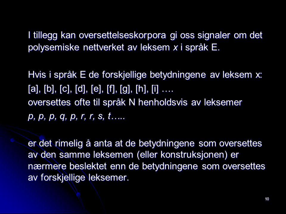 I tillegg kan oversettelseskorpora gi oss signaler om det polysemiske nettverket av leksem x i språk E.