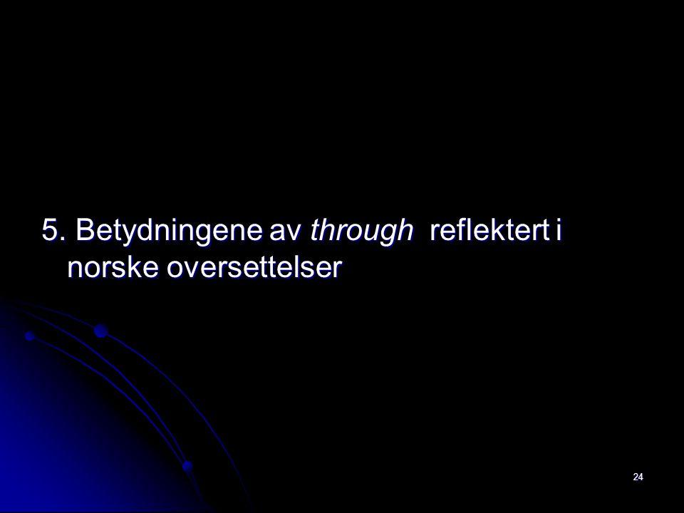 5. Betydningene av through reflektert i norske oversettelser 24