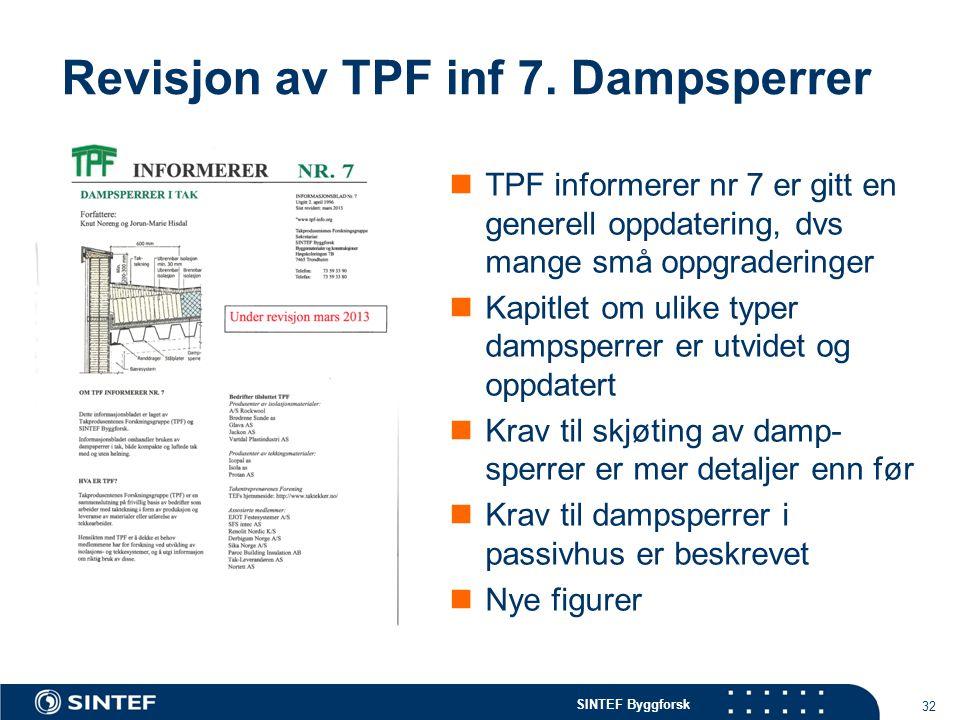 SINTEF Byggforsk Revisjon av TPF inf 7. Dampsperrer  TPF informerer nr 7 er gitt en generell oppdatering, dvs mange små oppgraderinger  Kapitlet om