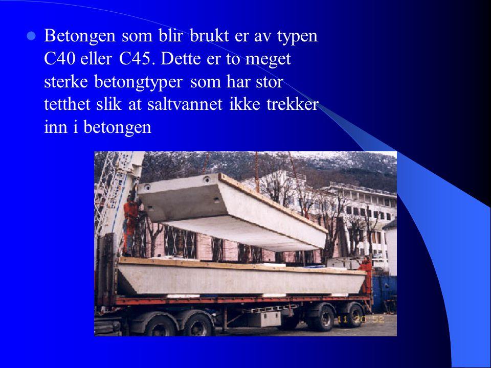 Betongpongtonger benyttet på Nordhordlandsbrua  Nordhordlandsbrua utenfor Knarvik er den lengste flytebrua i Europa (1.614,75m)  Den består av en skrå- kabelbro og en flyte- bro som hviler på 10 pongtonger.