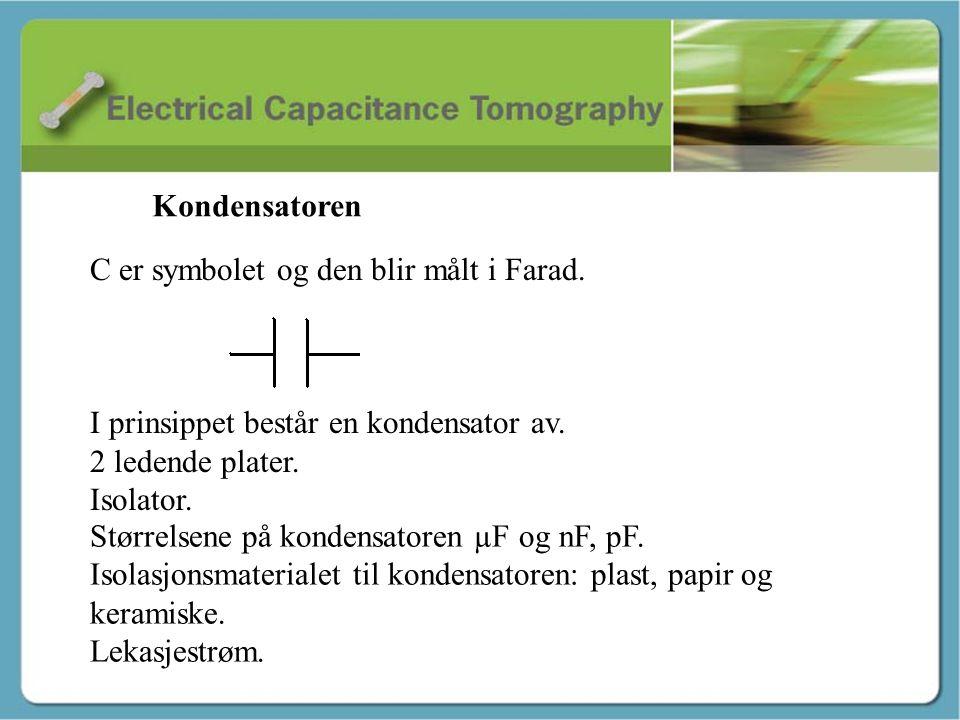Kapasitans - Martin C er symbolet og den blir målt i Farad. I prinsippet består en kondensator av. 2 ledende plater. Isolator. Størrelsene på kondensa