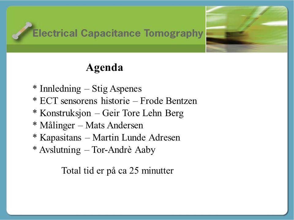 Innledning - Stig Agenda * Innledning – Stig Aspenes * ECT sensorens historie – Frode Bentzen * Konstruksjon – Geir Tore Lehn Berg * Målinger – Mats A