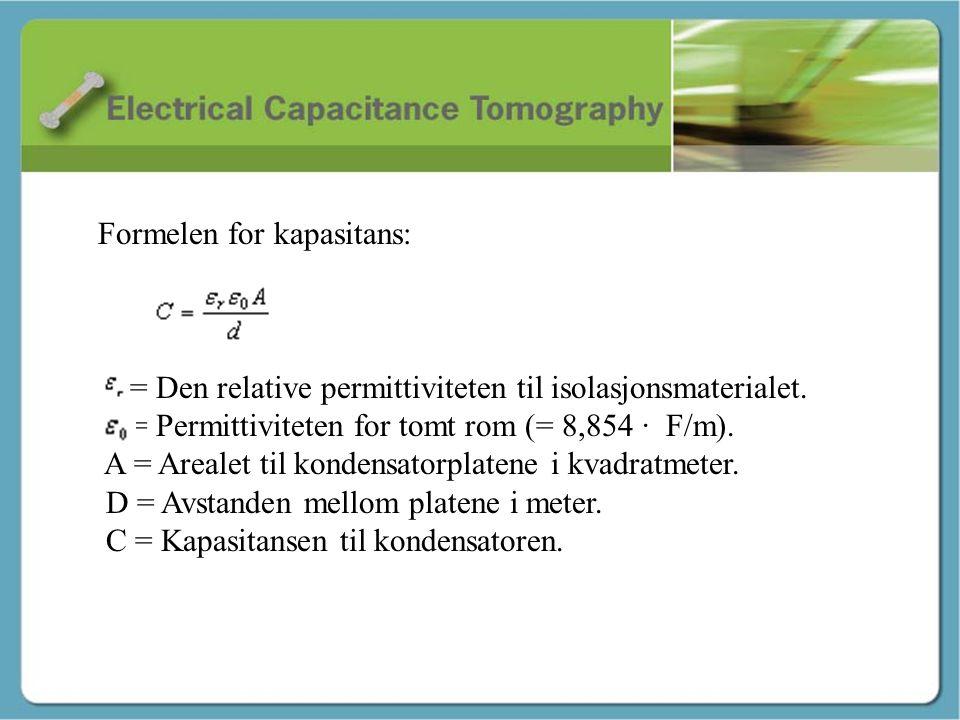 Kapasitans - Martin Formelen for kapasitans: = Den relative permittiviteten til isolasjonsmaterialet. = Permittiviteten for tomt rom (= 8,854 ∙ F/m).