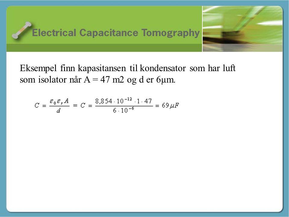 Kapasitans - Martin Eksempel finn kapasitansen til kondensator som har luft som isolator når A = 47 m2 og d er 6µm.