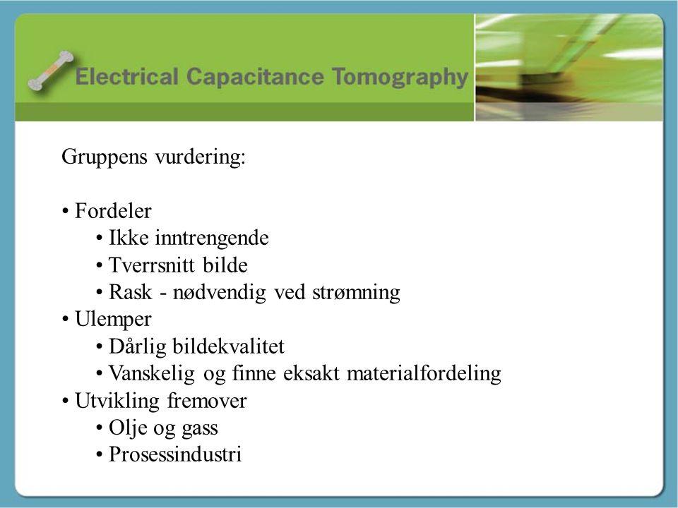 Avslutning – Tor André Gruppens vurdering: • Fordeler • Ikke inntrengende • Tverrsnitt bilde • Rask - nødvendig ved strømning • Ulemper • Dårlig bilde