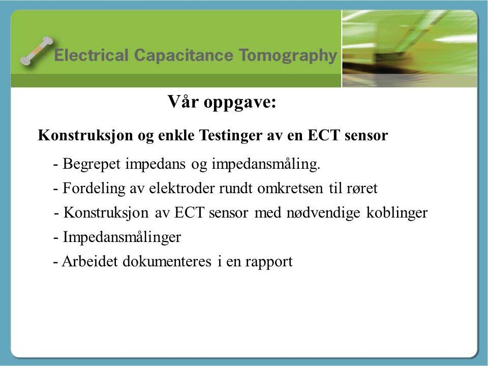 Innledning - Stig Konstruksjon og enkle Testinger av en ECT sensor - Begrepet impedans og impedansmåling. - Fordeling av elektroder rundt omkretsen ti