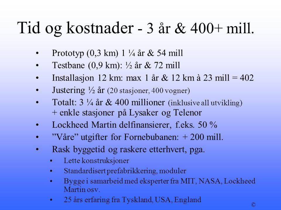 Tid og kostnader - 3 år & 400+ mill. •Prototyp (0,3 km) 1 ¼ år & 54 mill •Testbane (0,9 km): ½ år & 72 mill •Installasjon 12 km: max 1 år & 12 km à 23