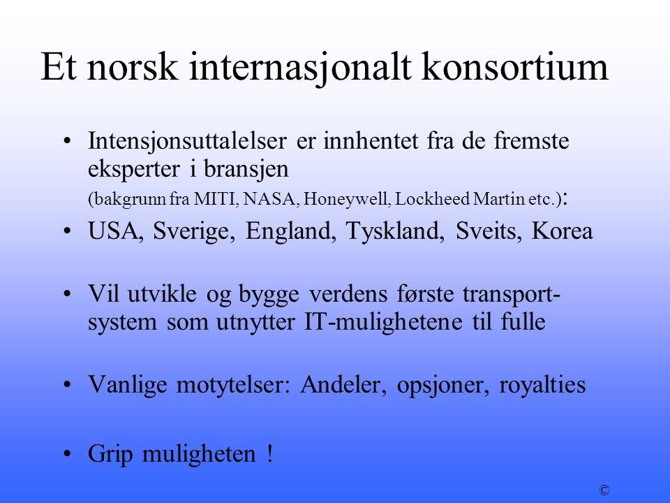 Et norsk internasjonalt konsortium •Intensjonsuttalelser er innhentet fra de fremste eksperter i bransjen (bakgrunn fra MITI, NASA, Honeywell, Lockhee