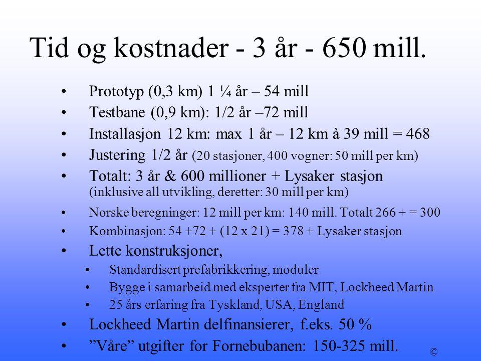 Tid og kostnader - 3 år - 650 mill. •Prototyp (0,3 km) 1 ¼ år – 54 mill •Testbane (0,9 km): 1/2 år –72 mill •Installasjon 12 km: max 1 år – 12 km à 39