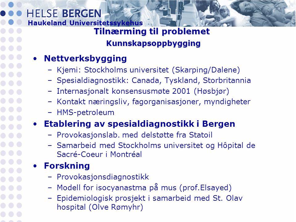 Haukeland Universitetssykehus Tilnærming til problemet Kunnskapsoppbygging •Nettverksbygging –Kjemi: Stockholms universitet (Skarping/Dalene) –Spesialdiagnostikk: Canada, Tyskland, Storbritannia –Internasjonalt konsensusmøte 2001 (Høsbjør) –Kontakt næringsliv, fagorganisasjoner, myndigheter –HMS-petroleum •Etablering av spesialdiagnostikk i Bergen –Provokasjonslab.