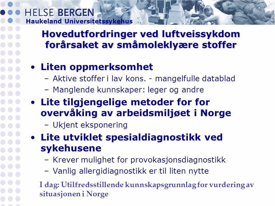 Haukeland Universitetssykehus Hovedutfordringer ved luftveissykdom forårsaket av småmoleklyære stoffer •Liten oppmerksomhet –Aktive stoffer i lav kons.