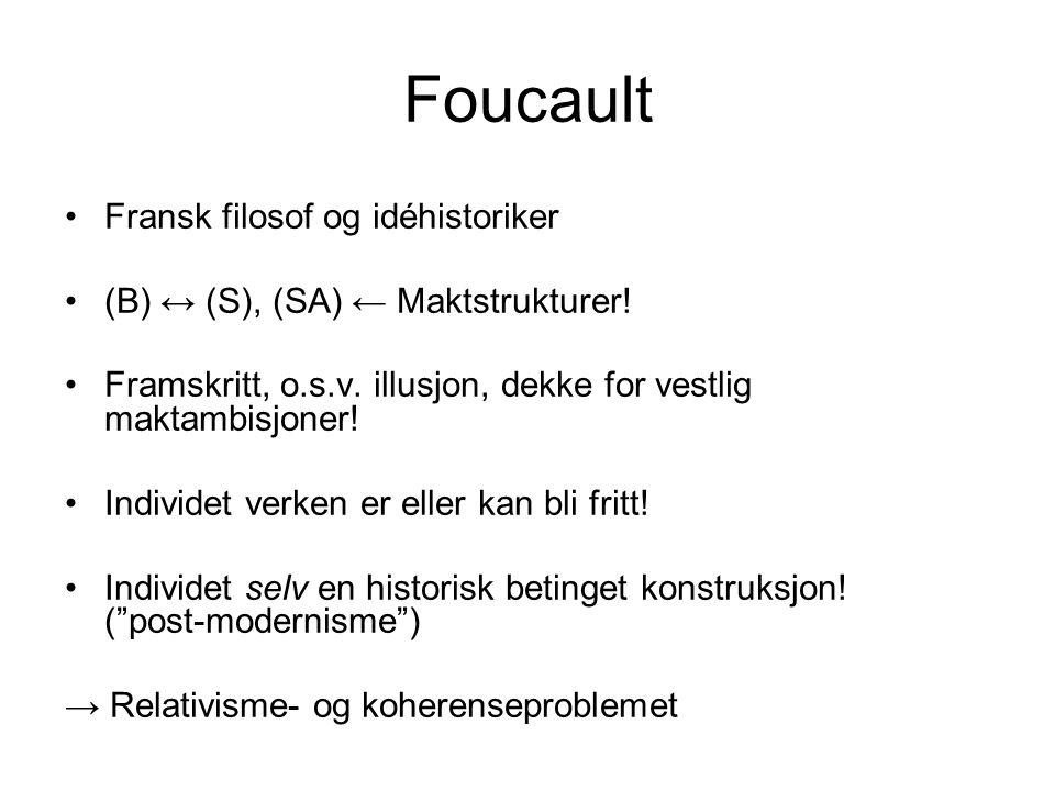 Foucault •Fransk filosof og idéhistoriker •(B) ↔ (S), (SA) ← Maktstrukturer! •Framskritt, o.s.v. illusjon, dekke for vestlig maktambisjoner! •Individe