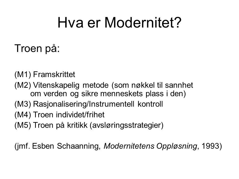 Hva er Modernitet? Troen på: (M1) Framskrittet (M2) Vitenskapelig metode (som nøkkel til sannhet om verden og sikre menneskets plass i den) (M3) Rasjo