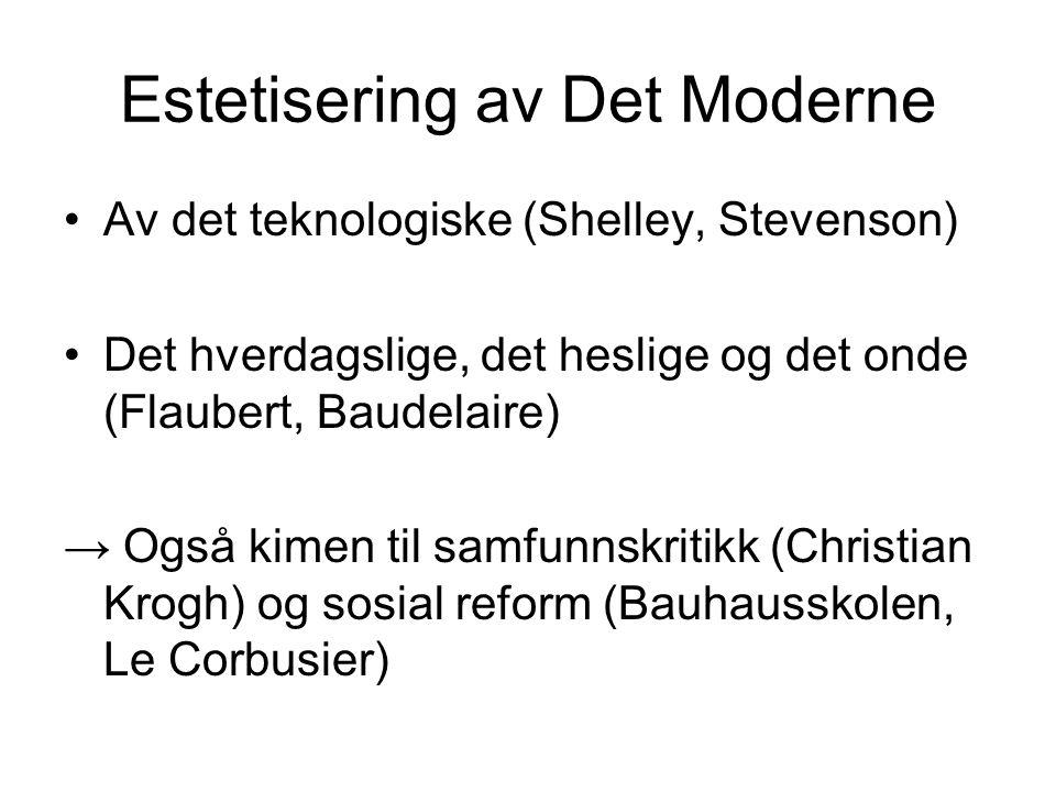 Estetisering av Det Moderne •Av det teknologiske (Shelley, Stevenson) •Det hverdagslige, det heslige og det onde (Flaubert, Baudelaire) → Også kimen t