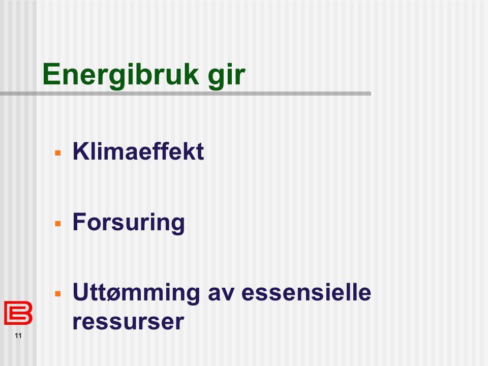 11 Energibruk gir  Klimaeffekt  Forsuring  Uttømming av essensielle ressurser