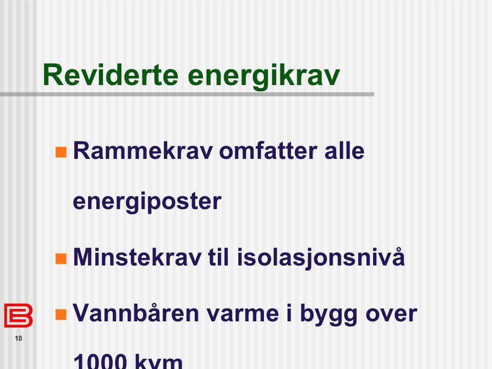 18 Reviderte energikrav  Rammekrav omfatter alle energiposter  Minstekrav til isolasjonsnivå  Vannbåren varme i bygg over 1000 kvm