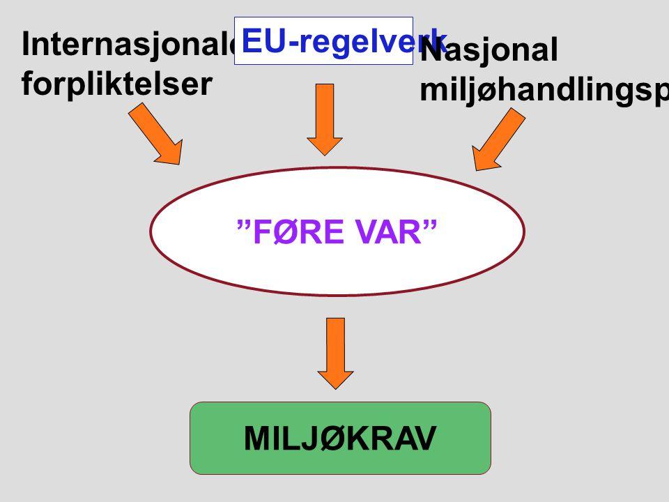 8 MILJØKRAV FØRE VAR Internasjonale forpliktelser EU-regelverk Nasjonal miljøhandlingsplan