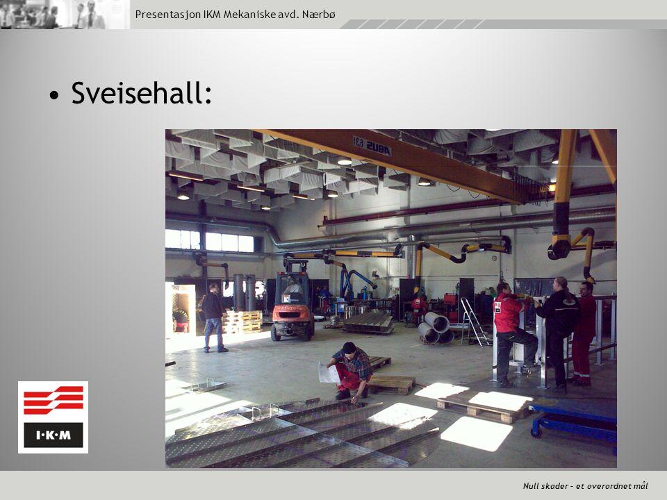 Null skader – et overordnet mål Presentasjon IKM Mekaniske avd. Nærbø •Sveisehall: