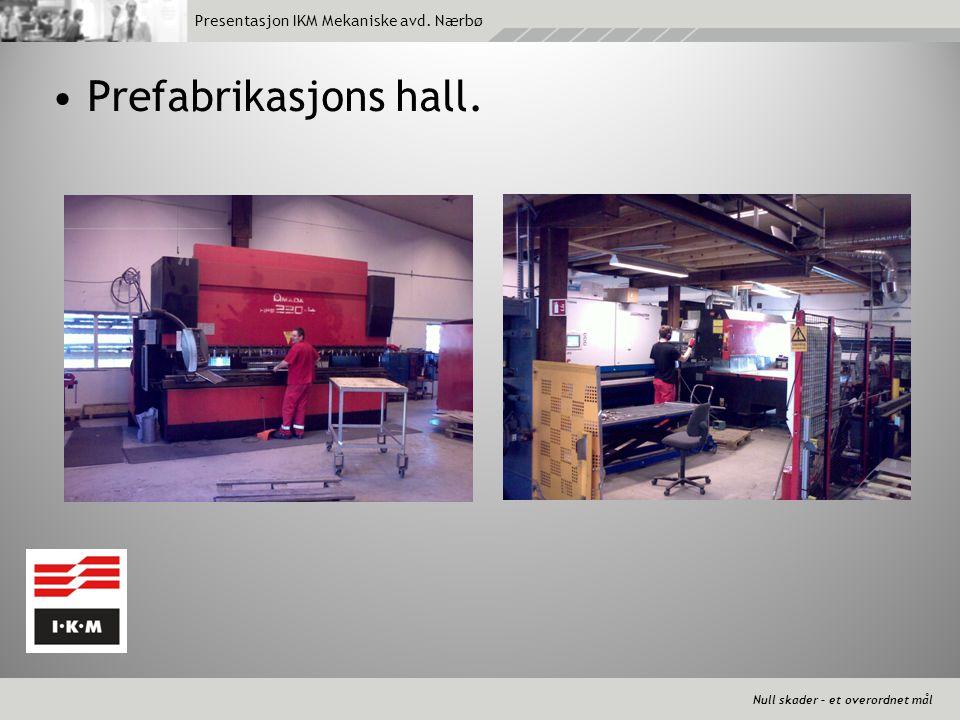 Null skader – et overordnet mål Presentasjon IKM Mekaniske avd. Nærbø •Prefabrikasjons hall.