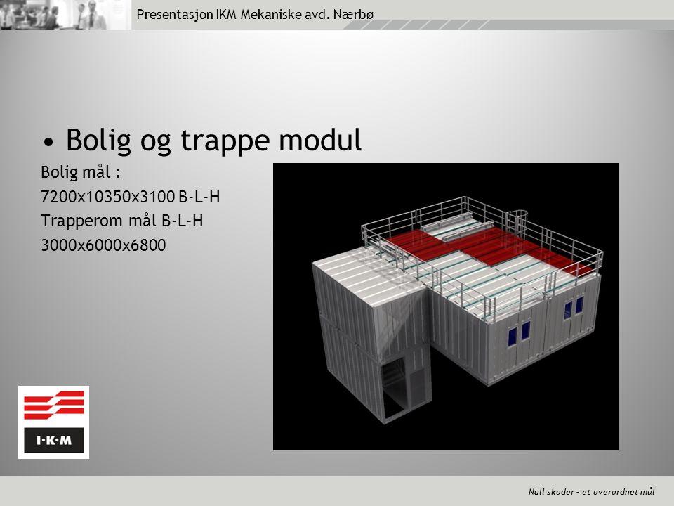 Null skader – et overordnet mål Presentasjon IKM Mekaniske avd. Nærbø •Bolig og trappe modul Bolig mål : 7200x10350x3100 B-L-H Trapperom mål B-L-H 300