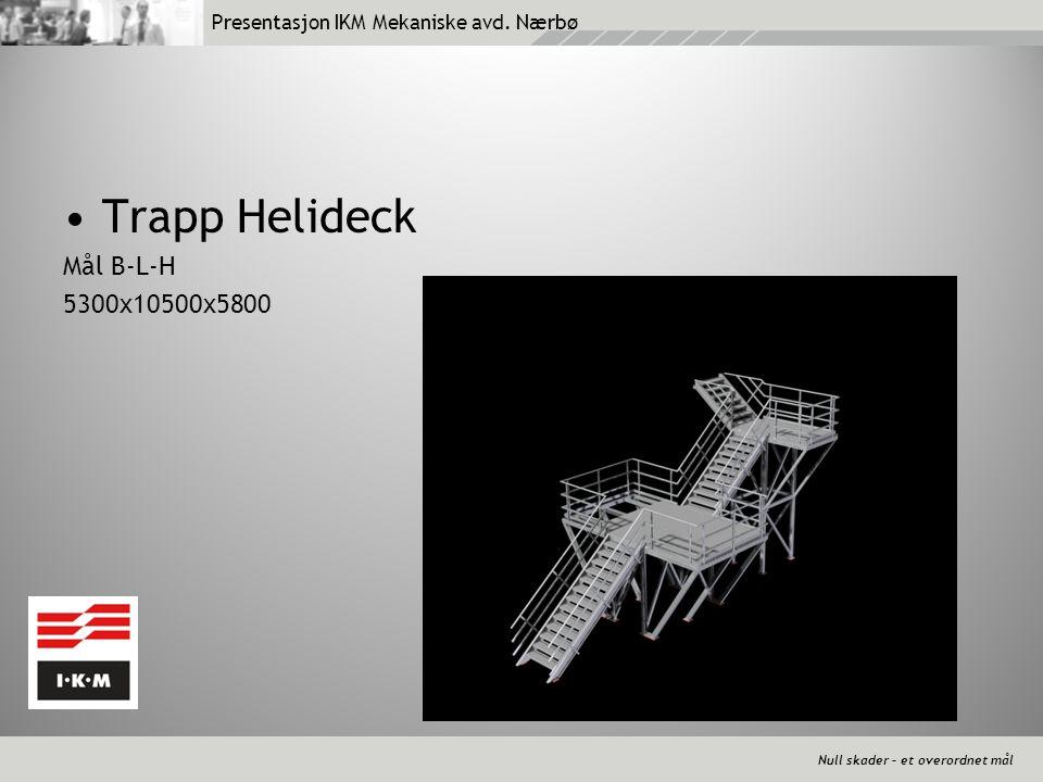 Null skader – et overordnet mål Presentasjon IKM Mekaniske avd. Nærbø •Trapp Helideck Mål B-L-H 5300x10500x5800