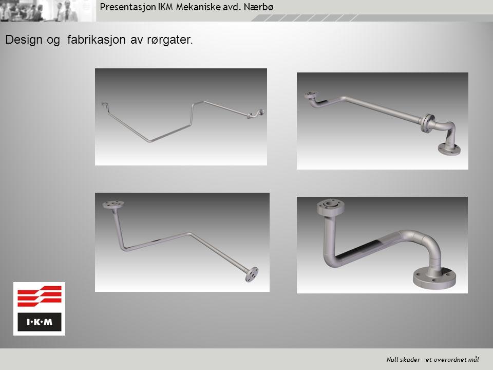 Presentasjon IKM Mekaniske avd. Nærbø Null skader – et overordnet mål Design og fabrikasjon av rørgater.