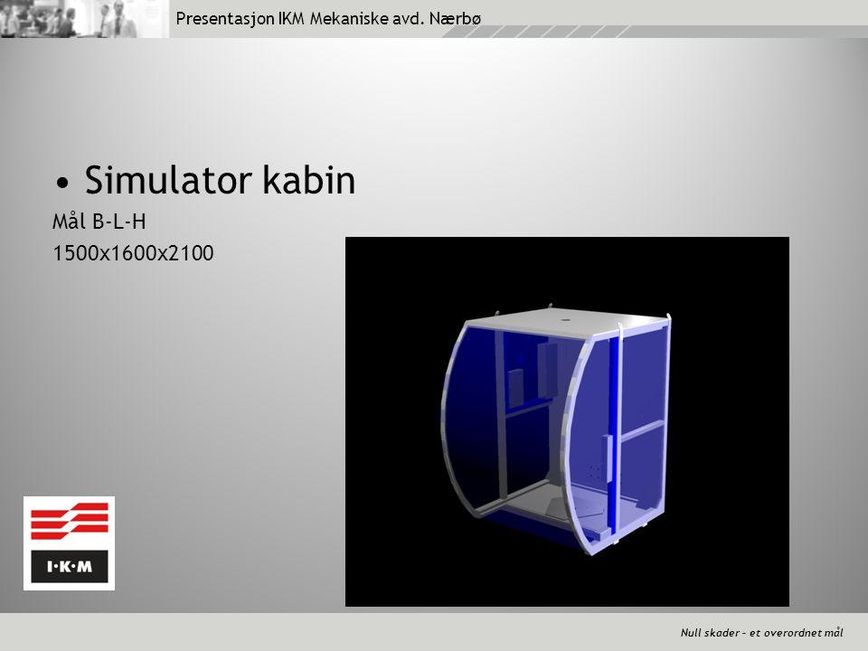 Null skader – et overordnet mål Presentasjon IKM Mekaniske avd. Nærbø •Simulator kabin Mål B-L-H 1500x1600x2100