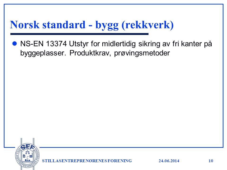 24.06.2014 STILLASENTREPRENØRENES FORENING11 Norsk standard - diverse l NS-EN 1263-1 Sikkerhetsnett - Del 1: Sikkerhetskrav, prøvingsmetoder l NS-EN 1263-2 Sikkerhetsnett - Del 2: Sikkerhetskrav ved plassering l NS-EN 13501-1 Brannklassifisering av byggevarer og bygningsdeler - Del 1: Klassifisering ved bruk av resultater fra prøving av materialers egenskaper ved brannpåvirkning l NS-EN 795 Personlig fallsikringsutstyr - Forankringsanordninger l NS-EN 280 Vertikalt bevegelige arbeidsplattformer - Beregninger, stabilitetskriterier, konstruksjon - Sikkerhet, inspeksjoner og prøvinger