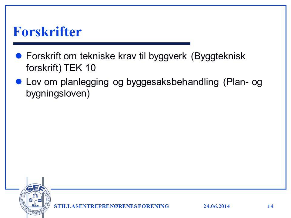 24.06.2014 STILLASENTREPRENØRENES FORENING14 Forskrifter l Forskrift om tekniske krav til byggverk (Byggteknisk forskrift) TEK 10 l Lov om planlegging
