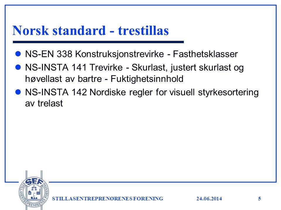 24.06.2014 STILLASENTREPRENØRENES FORENING5 Norsk standard - trestillas l NS-EN 338 Konstruksjonstrevirke - Fasthetsklasser l NS-INSTA 141 Trevirke -