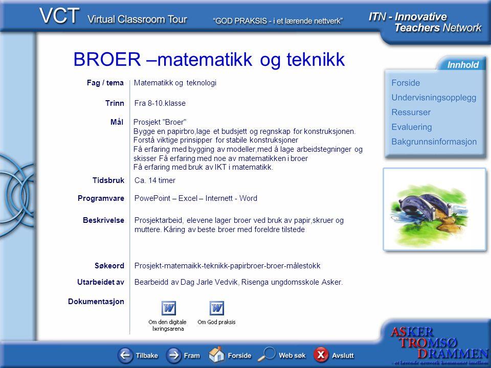 BROER –matematikk og teknikk Undervisningsopplegg Lærer gjennomgår ulike broer, og kan ta utgangspunkt i powerpointpresentasjonen IntroElev .
