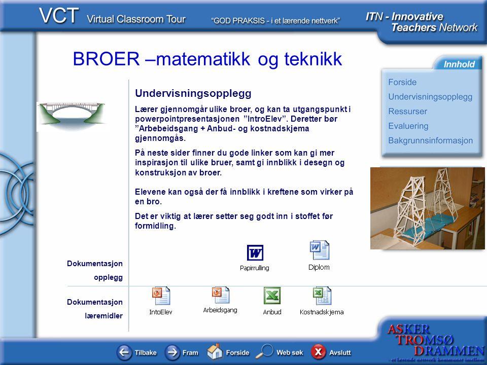BROER –matematikk og teknikk Ressurser Klikk på linkene: Brohistorie http://realstart.idi.ntnu.no/tekmet/gruppe1/brohistorie.html Brotyper http://realstart.idi.ntnu.no/tekmet/gruppe1/brohistorie.html http://realstart.idi.ntnu.no/tekmet/gruppe1/brotyper.html Bromaterialer http://realstart.idi.ntnu.no/tekmet/gruppe1/materialer.html Kreftene http://realstart.idi.ntnu.no/tekmet/gruppe1/krefter.htm http://realstart.idi.ntnu.no/tekmet/gruppe1/krefter.htm Spillmanual http://realstart.idi.ntnu.no/tekmet/gruppe1/spillmanual.htm Spill http://realstart.idi.ntnu.no/tekmet/gruppe1/spill.htm http://realstart.idi.ntnu.no/tekmet/gruppe1/spillmanual.htm http://realstart.idi.ntnu.no/tekmet/gruppe1/spill.htm Dokumentasjon