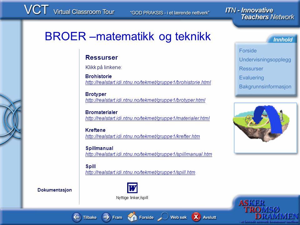 BROER –matematikk og teknikk Ressurser Klikk på linkene: Brohistorie http://realstart.idi.ntnu.no/tekmet/gruppe1/brohistorie.html Brotyper http://real