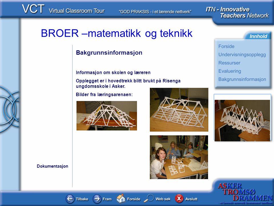 BROER –matematikk og teknikk Bakgrunnsinformasjon Informasjon om skolen og læreren Opplegget er i hovedtrekk blitt brukt på Risenga ungdomsskole i Ask