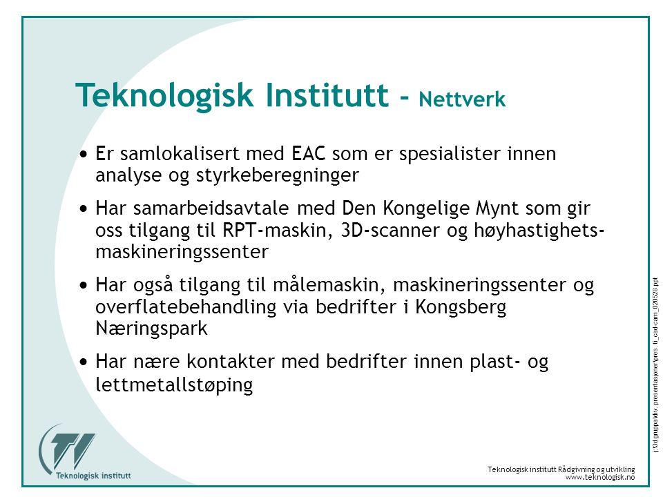Teknologisk institutt Rådgivning og utvikling www.teknologisk.no j:\3d gruppa\div. presentasjoner\pres. ti_cad-cam_020528.ppt Teknologisk Institutt -