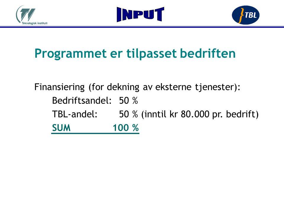 Programmet er tilpasset bedriften Finansiering (for dekning av eksterne tjenester): Bedriftsandel:50 % TBL-andel:50 % (inntil kr 80.000 pr. bedrift) S