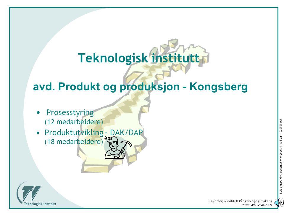 Teknologisk institutt Rådgivning og utvikling www.teknologisk.no j:\3d gruppa\div. presentasjoner\pres. ti_cad-cam_020528.ppt Teknologisk institutt •