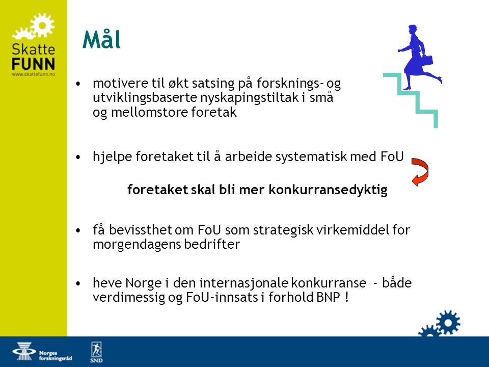 Mål •motivere til økt satsing på forsknings- og utviklingsbaserte nyskapingstiltak i små og mellomstore foretak •hjelpe foretaket til å arbeide systematisk med FoU •få bevissthet om FoU som strategisk virkemiddel for morgendagens bedrifter •heve Norge i den internasjonale konkurranse - både verdimessig og FoU-innsats i forhold BNP .