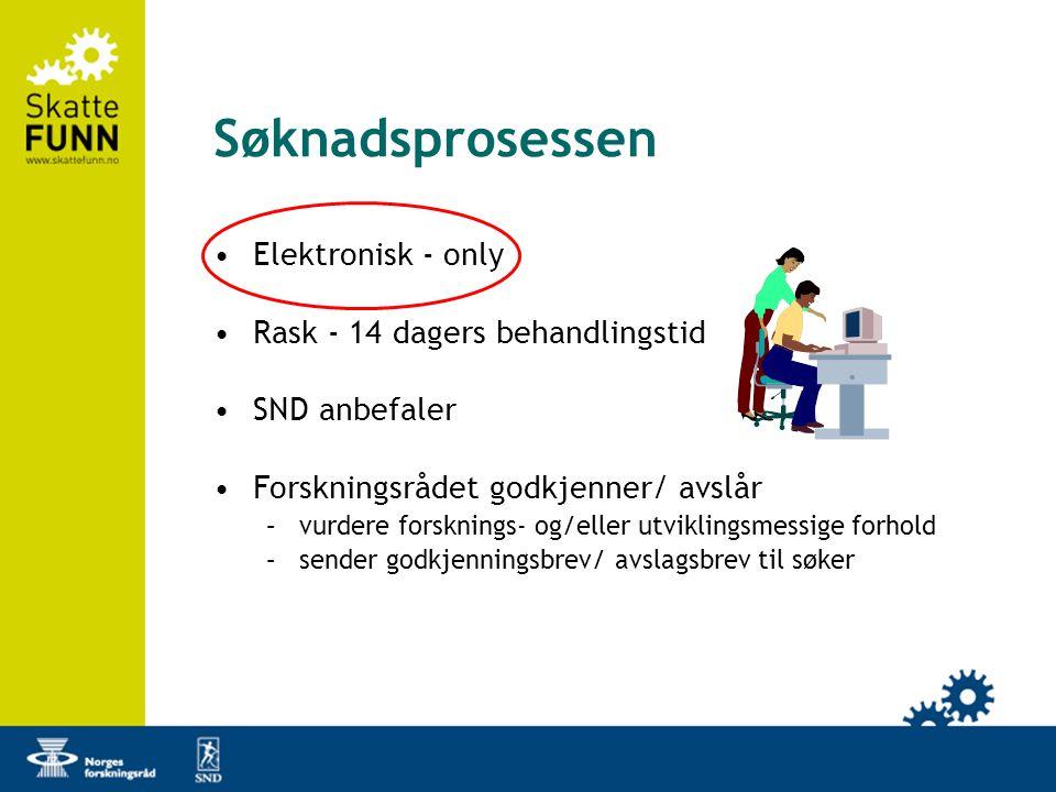 Søknadsprosessen •Elektronisk - only •Rask - 14 dagers behandlingstid •SND anbefaler •Forskningsrådet godkjenner/ avslår –vurdere forsknings- og/eller