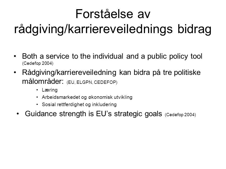 Forståelse av rådgiving/karriereveilednings bidrag •Both a service to the individual and a public policy tool (Cedefop 2004) •Rådgiving/karriereveiled