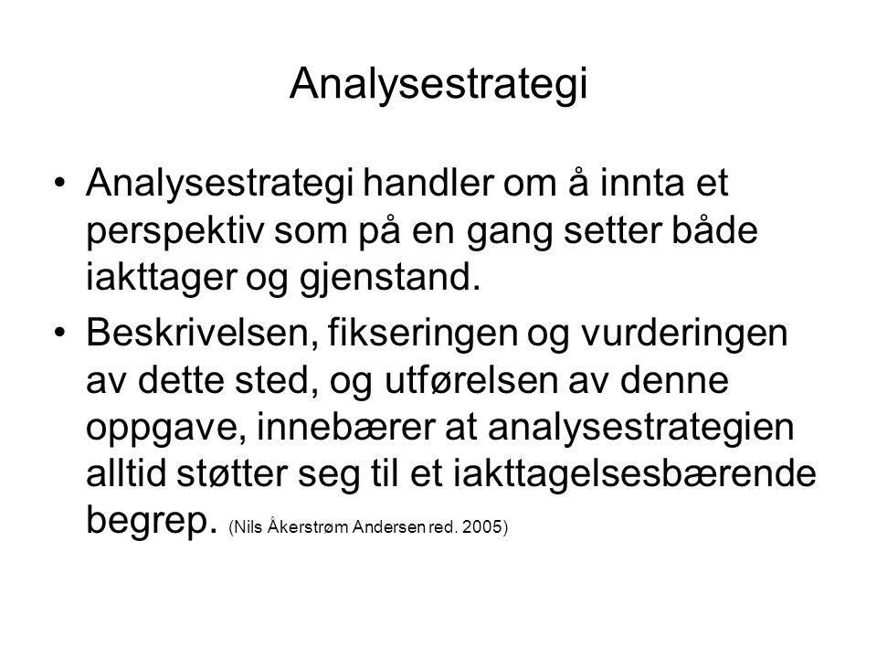 Analysestrategi •Analysestrategi handler om å innta et perspektiv som på en gang setter både iakttager og gjenstand. •Beskrivelsen, fikseringen og vur