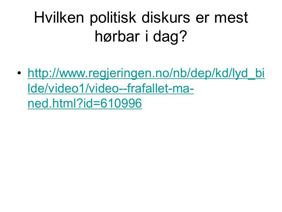 Hvilken politisk diskurs er mest hørbar i dag? •http://www.regjeringen.no/nb/dep/kd/lyd_bi lde/video1/video--frafallet-ma- ned.html?id=610996http://ww