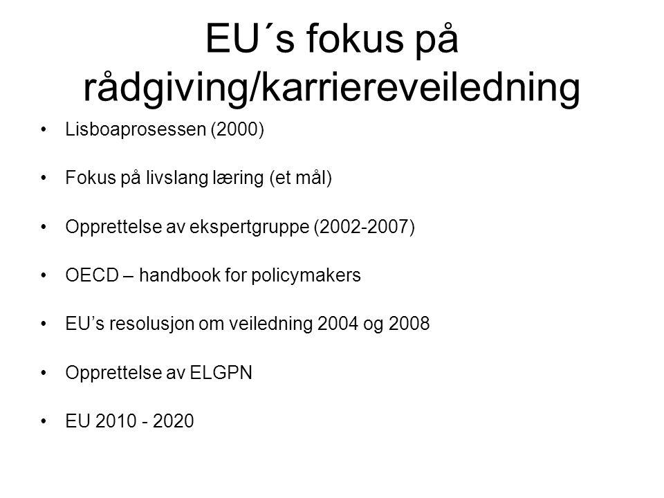 EU´s fokus på rådgiving/karriereveiledning •Lisboaprosessen (2000) •Fokus på livslang læring (et mål) •Opprettelse av ekspertgruppe (2002-2007) •OECD