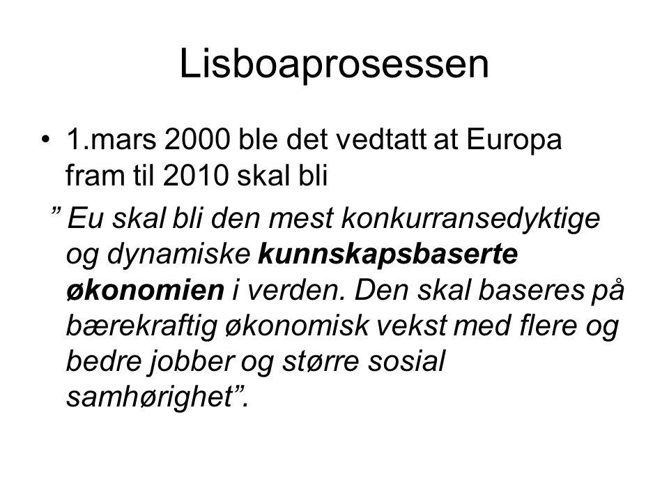 """Lisboaprosessen •1.mars 2000 ble det vedtatt at Europa fram til 2010 skal bli """" Eu skal bli den mest konkurransedyktige og dynamiske kunnskapsbaserte"""