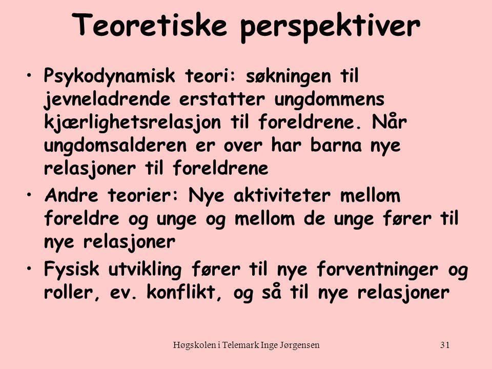 Høgskolen i Telemark Inge Jørgensen31 Teoretiske perspektiver •Psykodynamisk teori: søkningen til jevneladrende erstatter ungdommens kjærlighetsrelasjon til foreldrene.