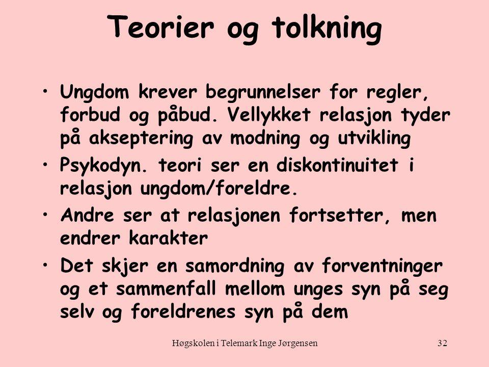 Høgskolen i Telemark Inge Jørgensen32 Teorier og tolkning •Ungdom krever begrunnelser for regler, forbud og påbud.